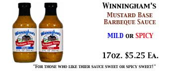 Winningham's Mild or Spicy Mustard Base BBQ Sauce